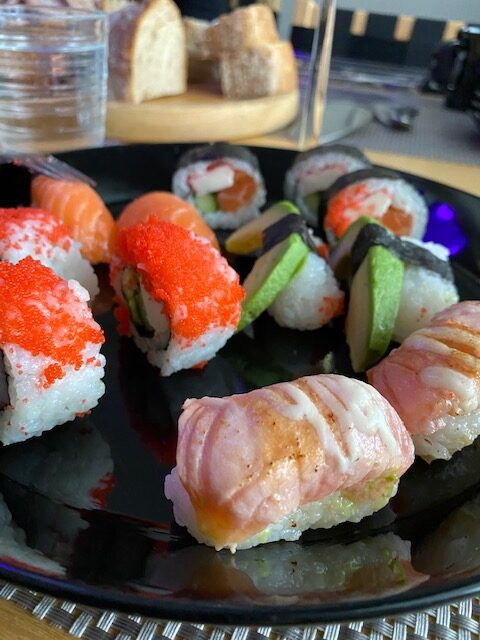 Samppanjasiskot, sushi